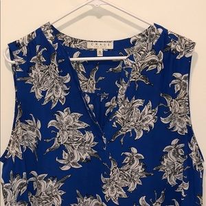 Blue Floral V Neck Blouse